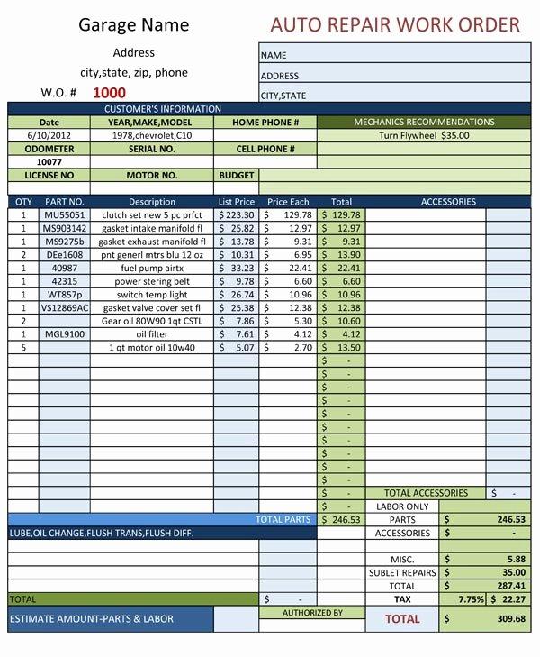 Auto Repair Work order Template