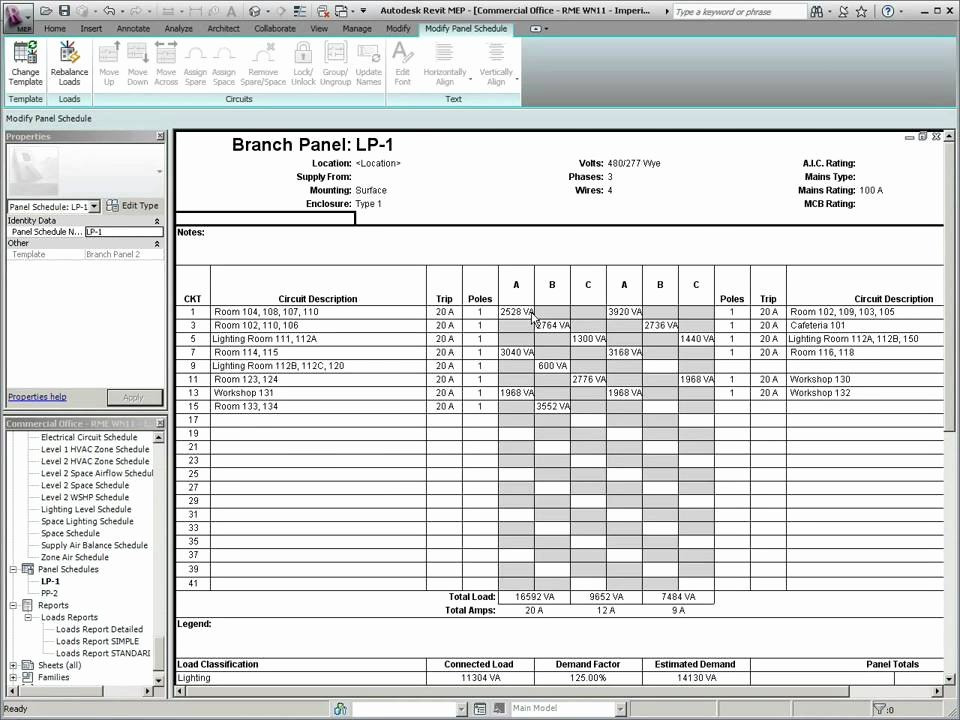 Autodesk Revit Mep 2011 Panel Schedule Templates