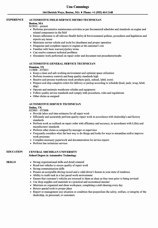 Automobile Service Technician Resume Automotive