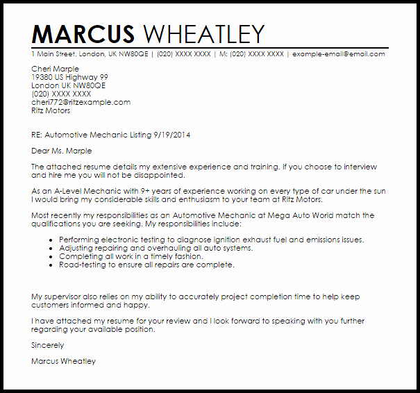 Automotive Mechanic Cover Letter Sample