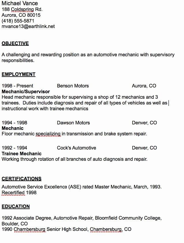 Automotive Mechanic Resume Sample Resumesdesign