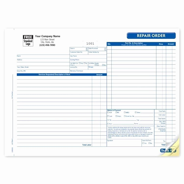 Automotive Repair Invoice form