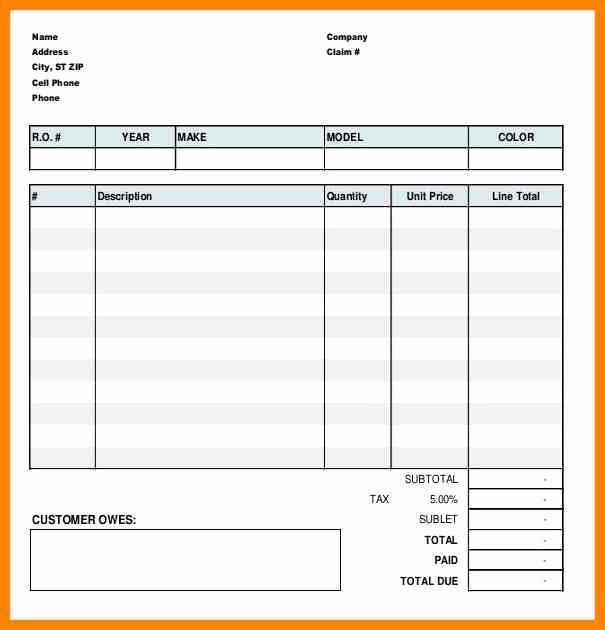 Automotive Repair Work order Template