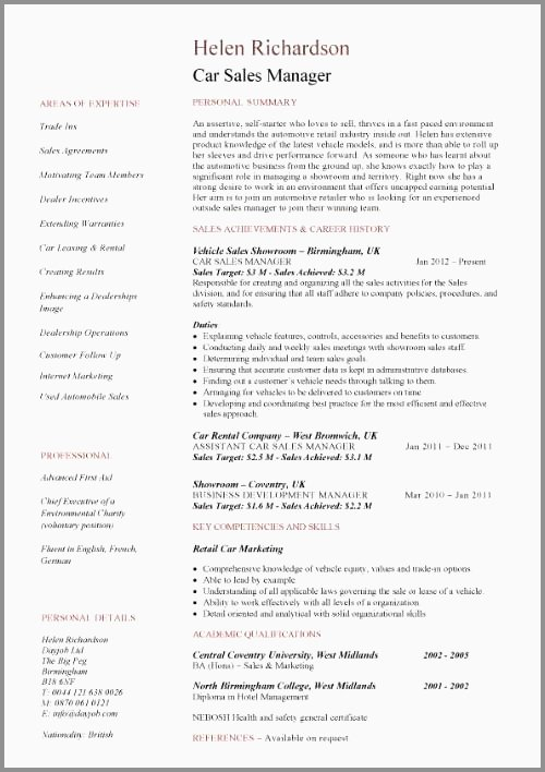 Automotive Sales Manager Resume Auto Sales Manager Resume