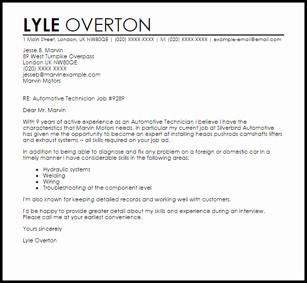 Automotive Technician Cover Letter Sample