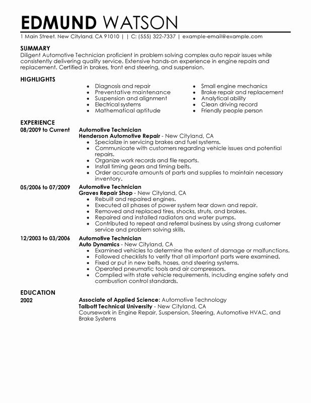 Automotive Technician Resume Examples Created by Pros