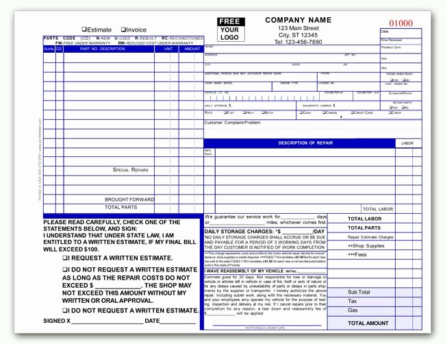 Automotive Transmission Repair Invoice form