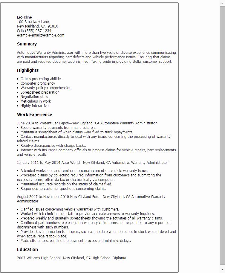 Automotive Warranty Administrator Resume Template — Best