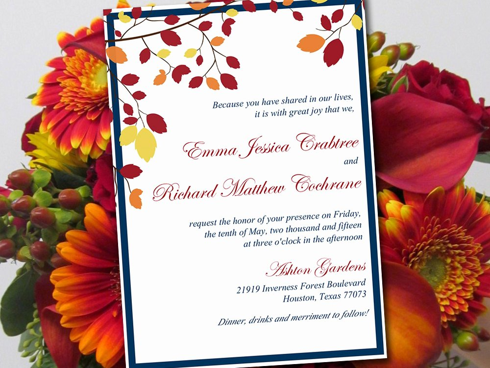 Autumn Wedding Invitation Template Muskoka