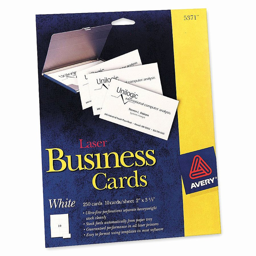 "Avery 5371 Laser Print Perforated Business Cards A8 2"" X"