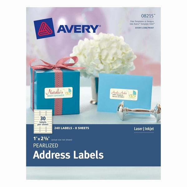 """Avery Pearlized Ivory Address Labels 1"""" X 2 5 8"""" 240"""