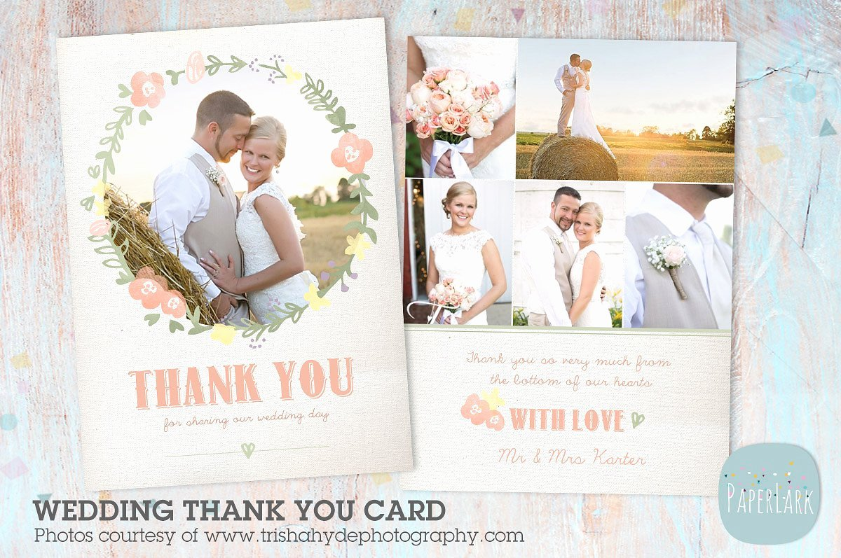 Aw014 Wedding Thank You Card Card Templates Creative