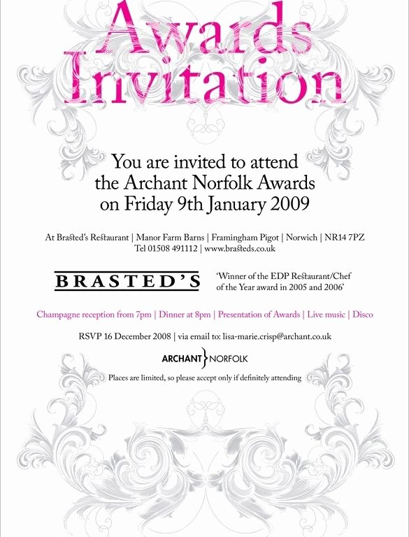 Award Ceremony Invitation Template Cobypic