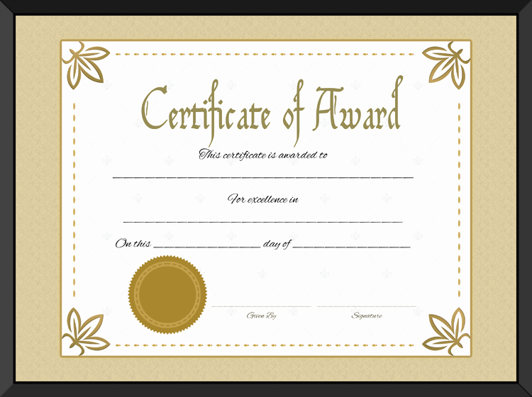Award Certificate Of Excellence Template