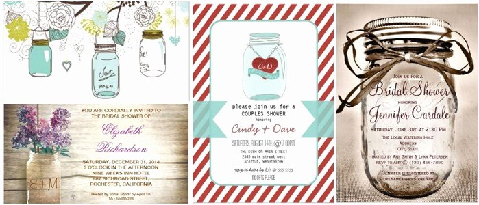 Awesome Bridal Shower Invitations Mason Jar theme Ideas