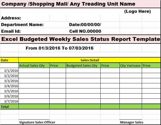 Awesome Bud Ed Weekly Sales Status Report Template for