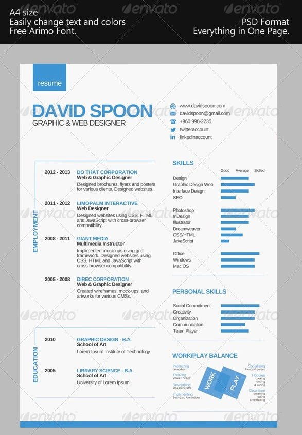 Awesome Free Resume Cv Templates 56pixels