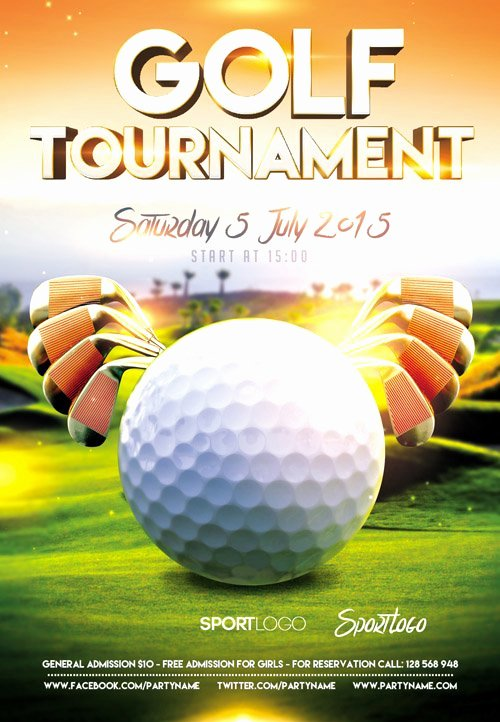Awesome Golf tournament Flyer Psd Kk Gol and Golf