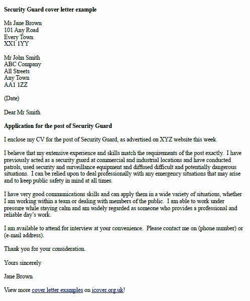 Awesome Security Guard Cover Letter