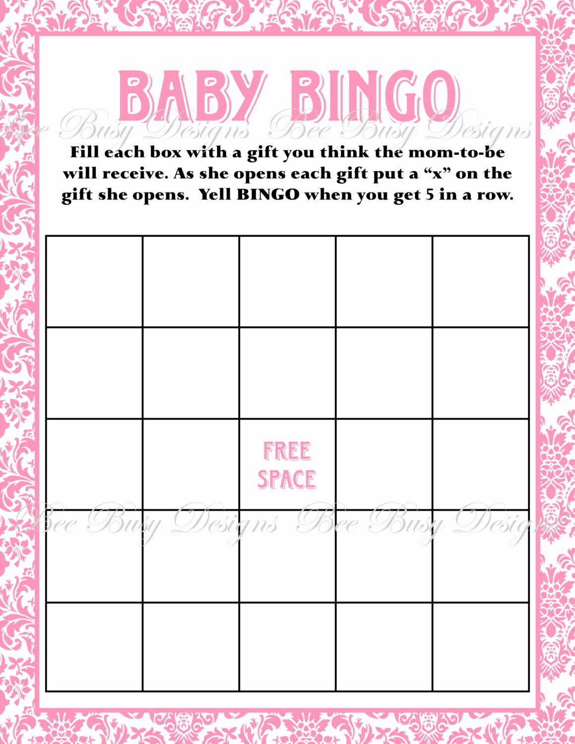 Baby Bingo Cards Printable Search Results