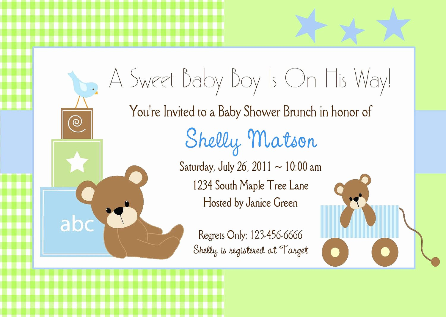 Baby Boy Baby Shower Invitations Template
