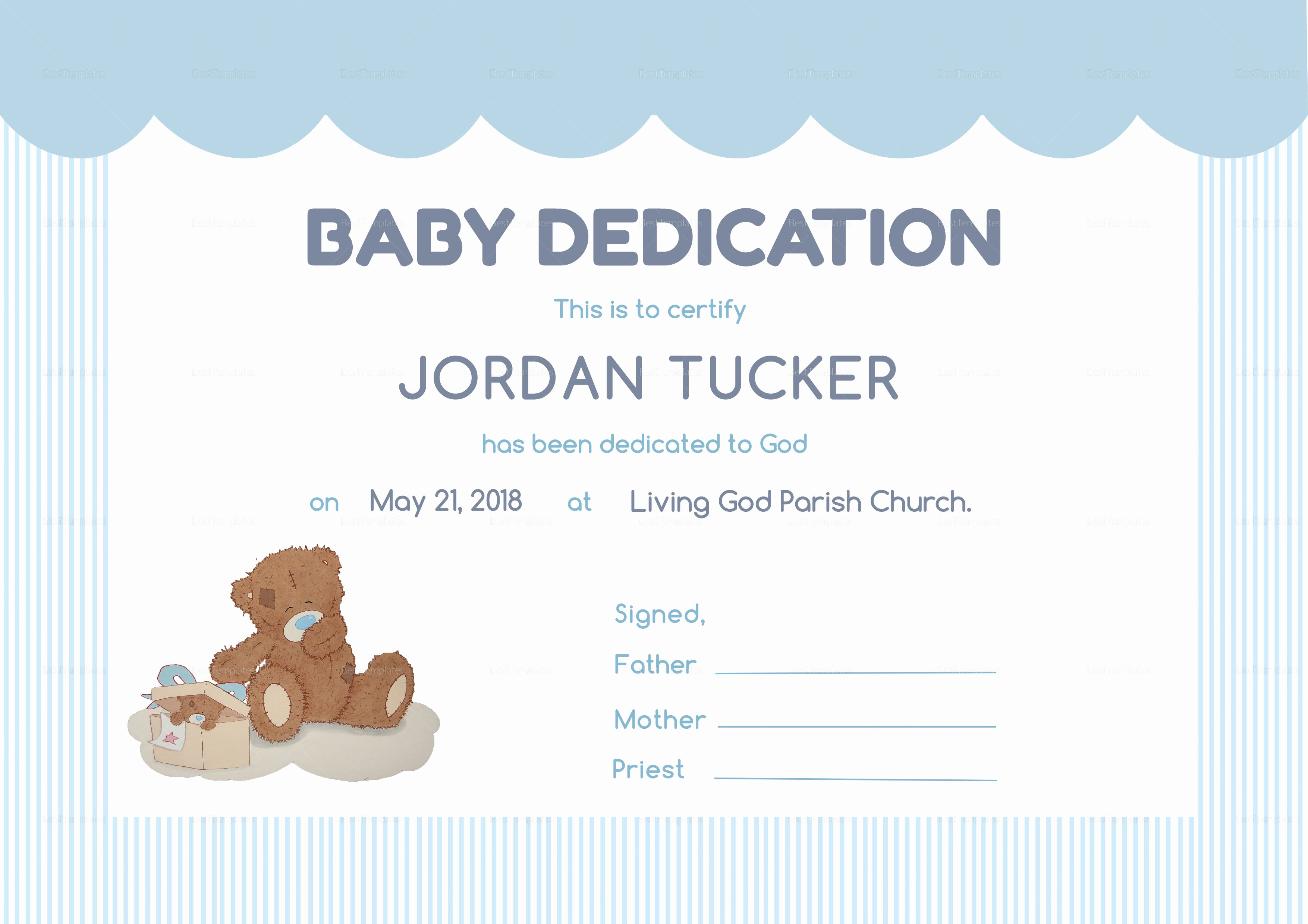 Baby Dedication Certificate Design Template In Psd Word