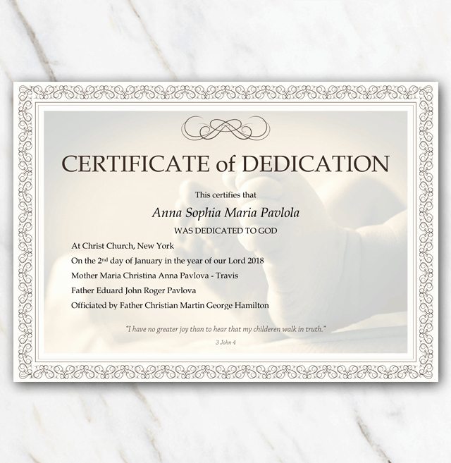Baby Dedication Certificate with Babyfeet and Frame