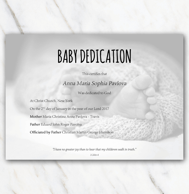 Baby Dedication Certificate with Babyfeet In Blanket On