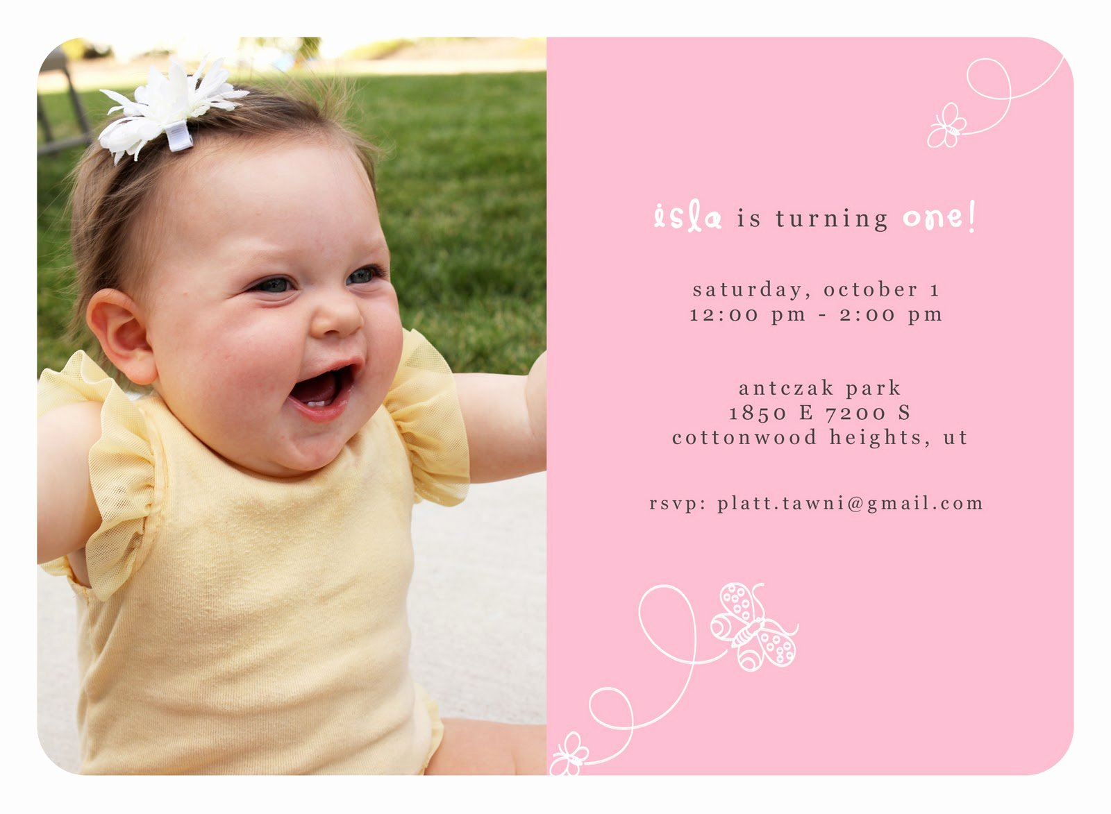 Baby First Birthday Invitations Template