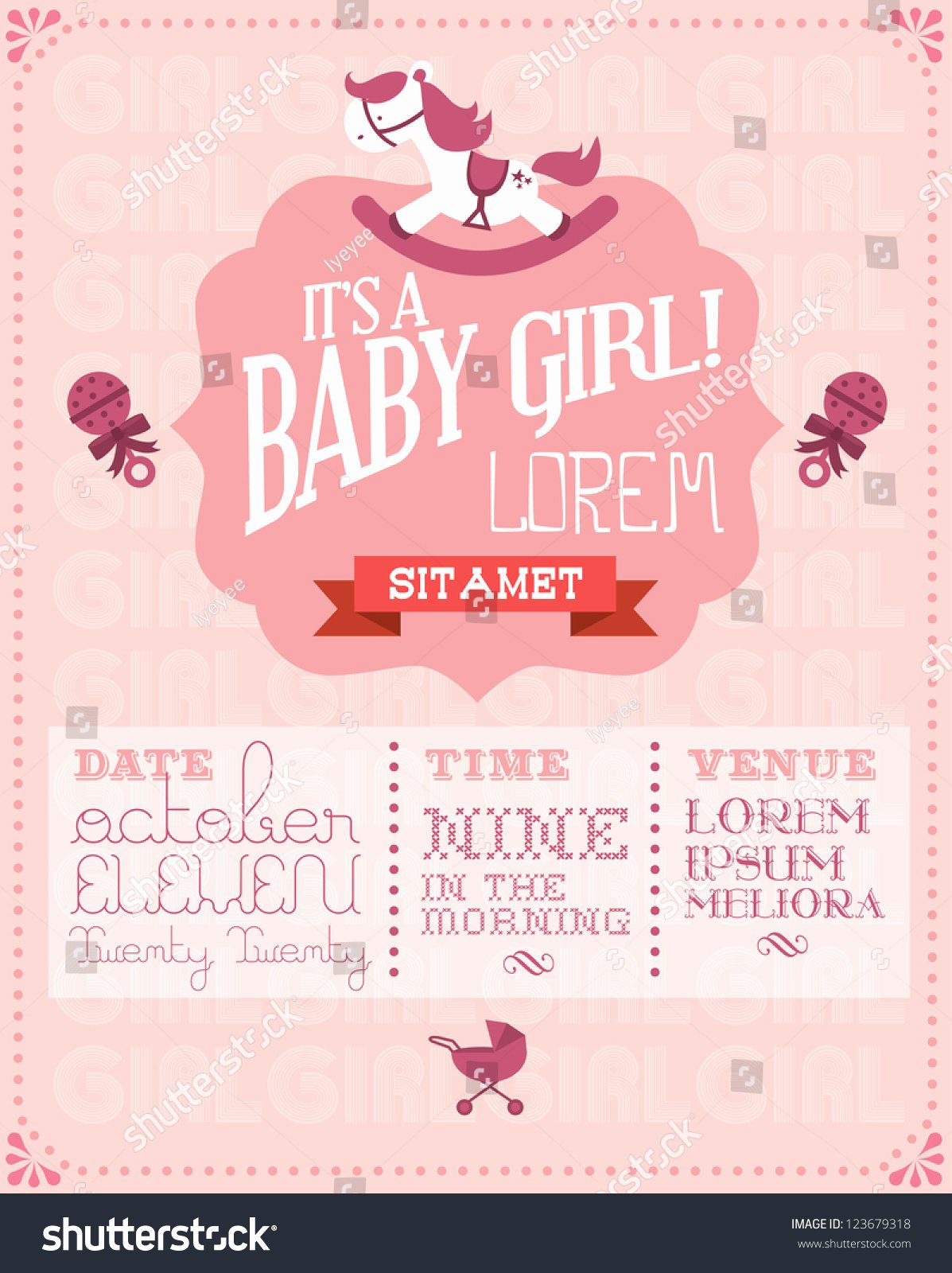 Baby Girl Baby Shower Invitation Card Stock Vector