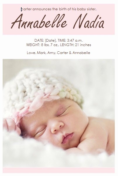 Baby Girl Birth Announcement Template Template Haven
