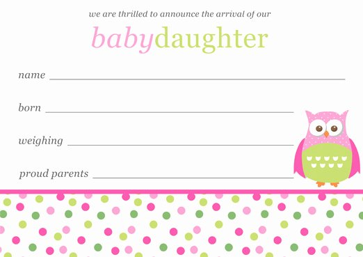 Baby Girl Birth Announcements Template Free Download