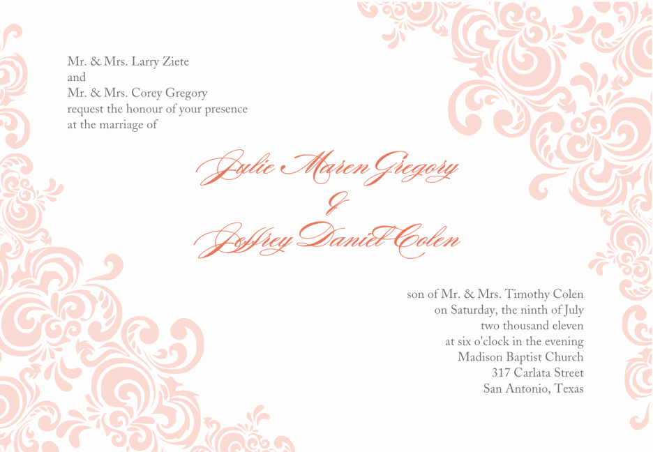 Baby Pink Wedding Invitation Template Word Document with