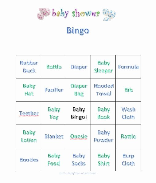 Baby Shower Bingo Free Printable Bingo Cards And Latter Example