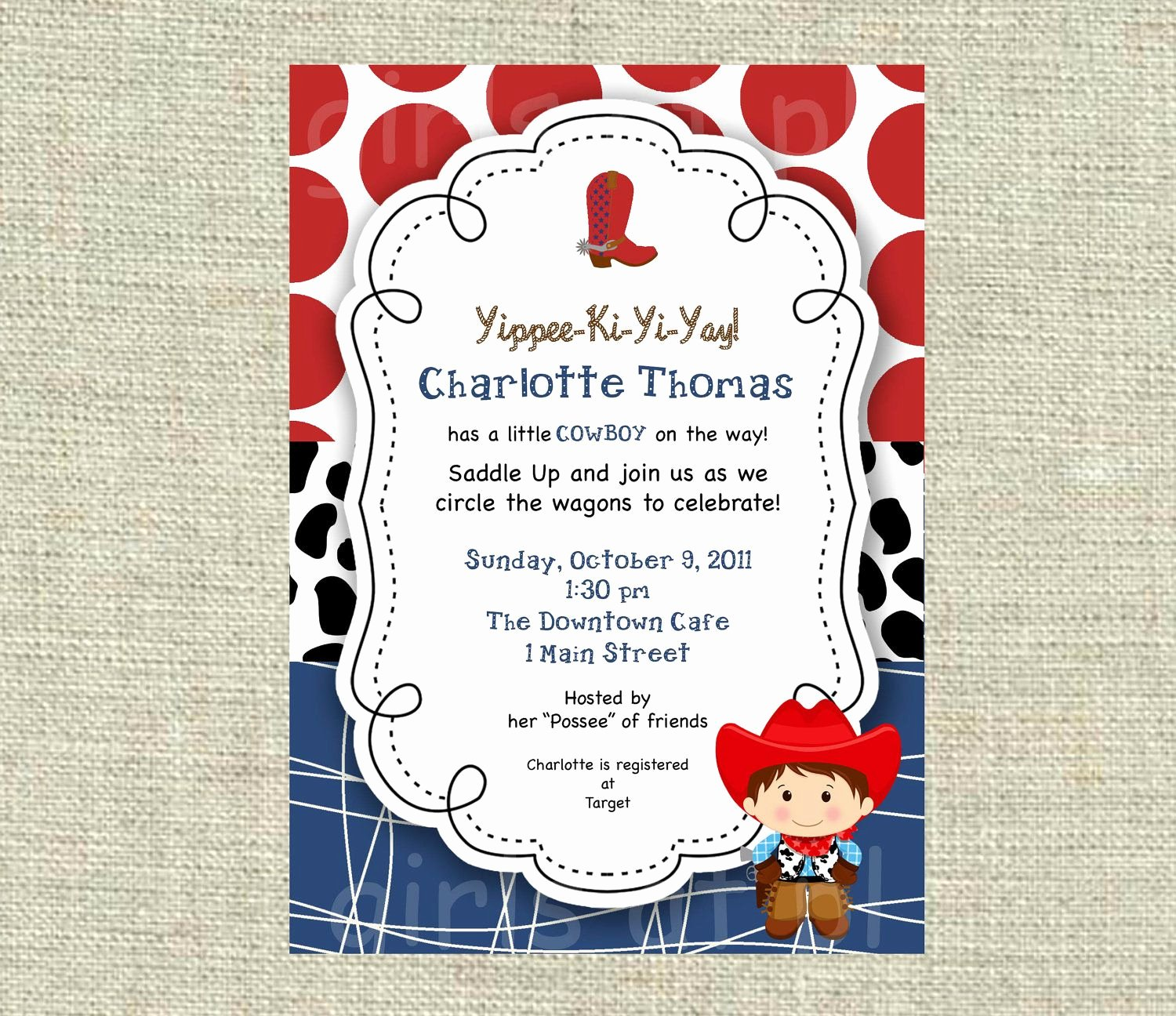 Baby Shower Cowboy Cowgirl Boy Invitation Texas Western