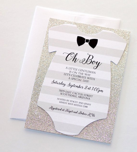 Baby Shower Esie Invitation Glitter Shower Invitation