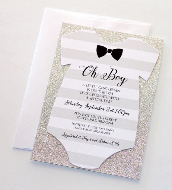 Baby Shower Esie Invitation Glitter Shower Invitation