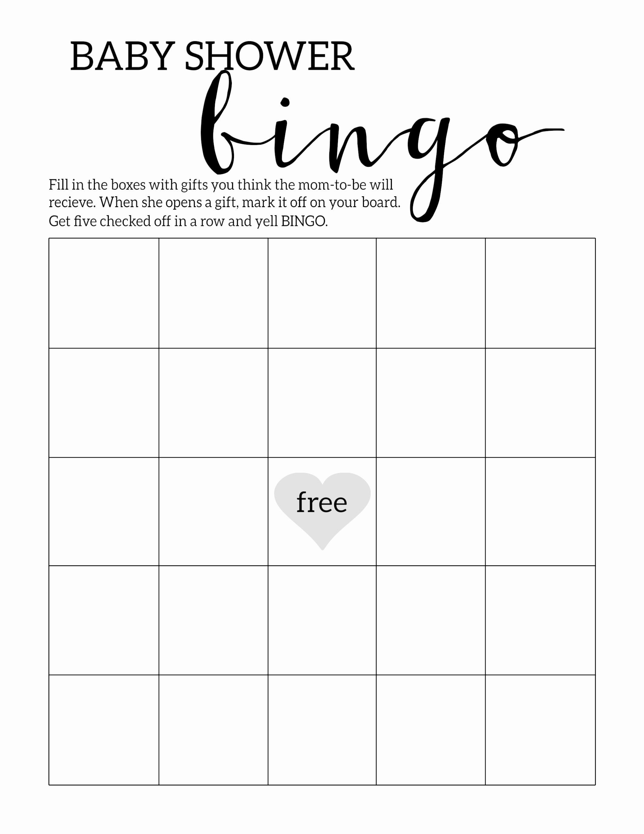 Baby Shower Gift Bingo Printable Blank Gift Ftempo