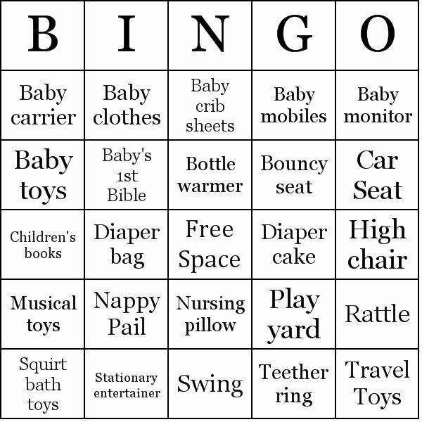 Baby Shower Gift Bingo Printable Printable 360 Degree
