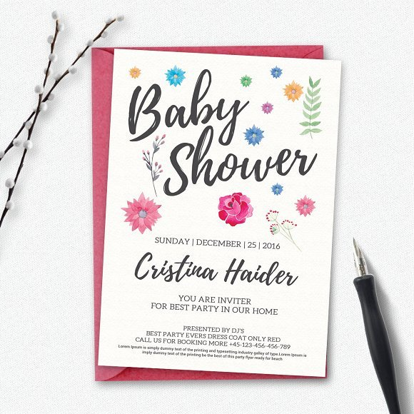 Baby Shower Invitation Flyer Templates Creative Market