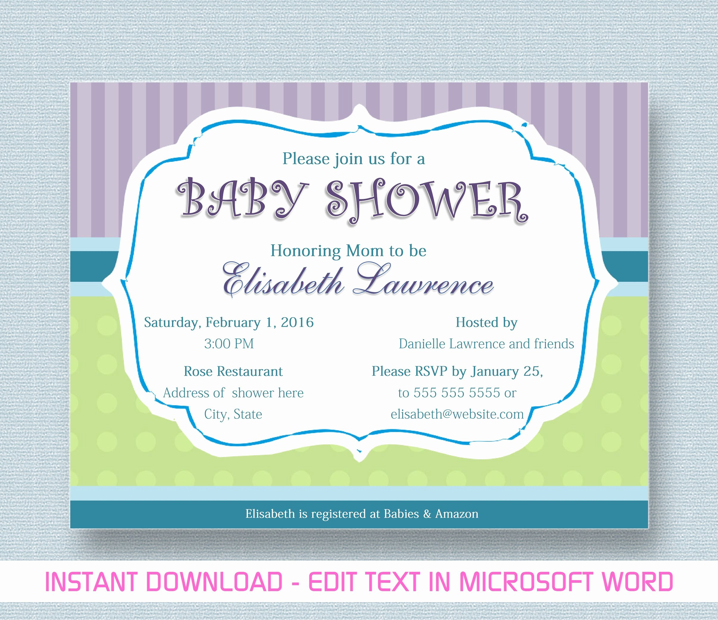 Baby Shower Invitation for Microsoft Word