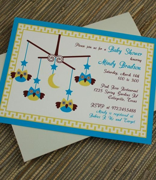 Baby Shower Invitation Template Baby Boy Owl Mobile