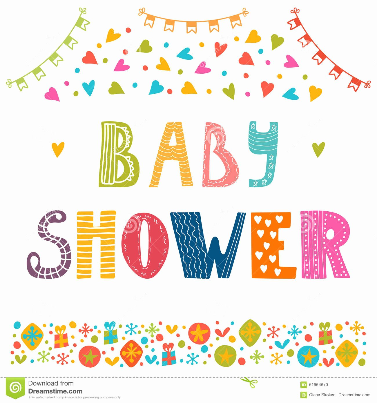 Baby Shower Invitation Template Cute Postcard Stock