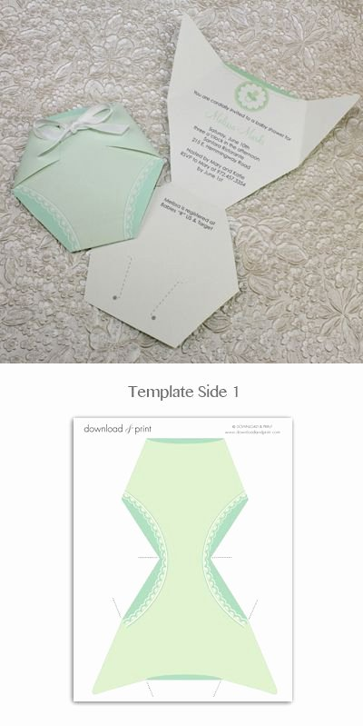 Baby Shower Invitation Template Green Diaper