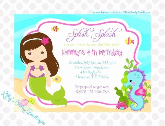 Baby Shower Invitation Templates Mermaid Birthday