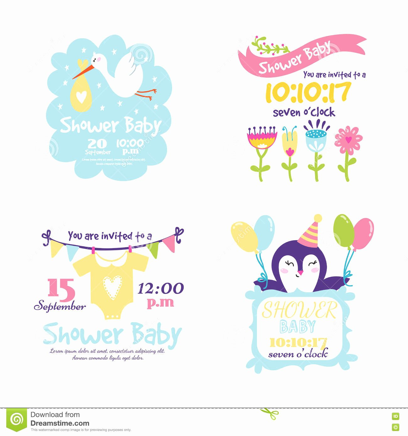 Baby Shower Invitation Vector Card Stock Vector