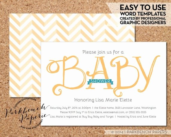 Baby Shower Invitation Yellow Ribbon Diy Editable Word