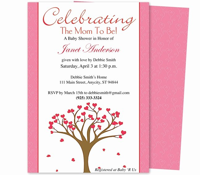 Baby Shower Invitations Celebrate Tree Of Hearts Shower