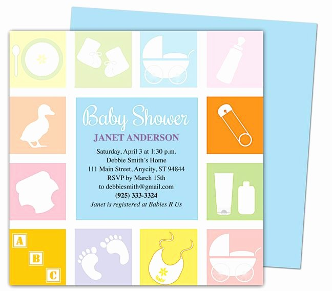 Baby Shower Invitations Template Blocks Shower