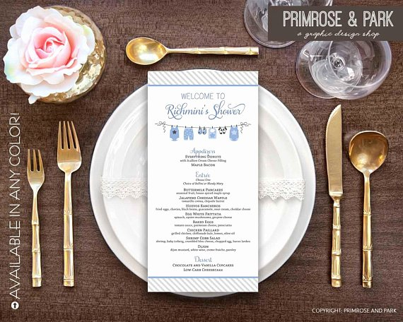 Baby Shower Menu Cards Birthday Menu Card Menu Template
